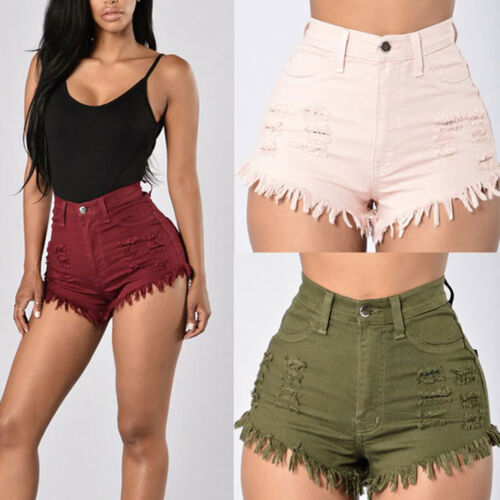 Damen High Waist Jeans Kurze Hose Denim Hüftjeans Hotpants Shorts Bermuda Sommer