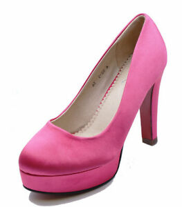 LADIES-PINK-SATIN-SLIP-ON-SMART-WORK-WEDDING-PARTY-COURT-EVENING-SHOES-SIZES-2-7