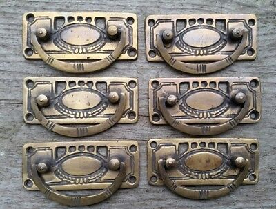"2 Arts and Crafts Antique-Style Brass Handles Pulls Hardware  3 1//8/""w #H33"