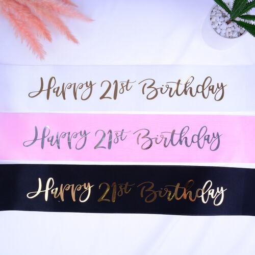 Glitter Birthday Sash Happy 21st Birthday Satin Sash for Girl Birthday PartyB9