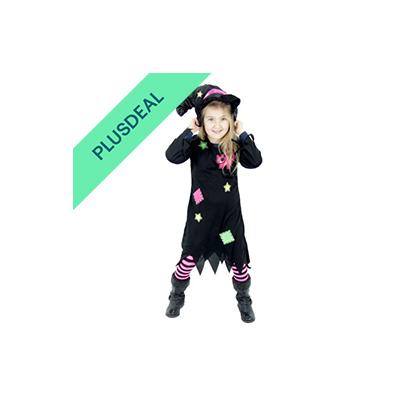 Süßes Hexenkostüm für Mädchen Kinder Hexenhut Hexen Halloween Kostüm Gr. 86-128