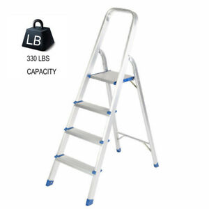 Enjoyable Details About 2 4 Steps Aluminum Ladder Folding Step Stool With High Armrest Loading 300 Lbs Machost Co Dining Chair Design Ideas Machostcouk