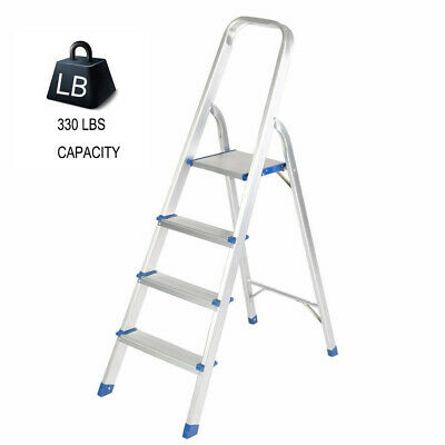 2//4 Steps Aluminum Ladder Folding Step Stool with High Armrest Loading 300 Lbs