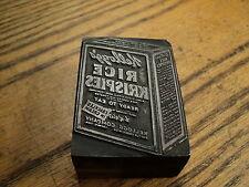 Vintage Kellogg's Rice Krispies Printing Press Ink Stamp Block Printing Tool