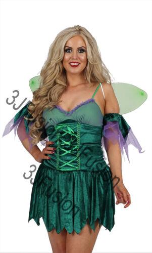 Le donne adulto Verde Woodland Fairy Pixie Costume Vestito Con Ali GRATIS /& POST CK