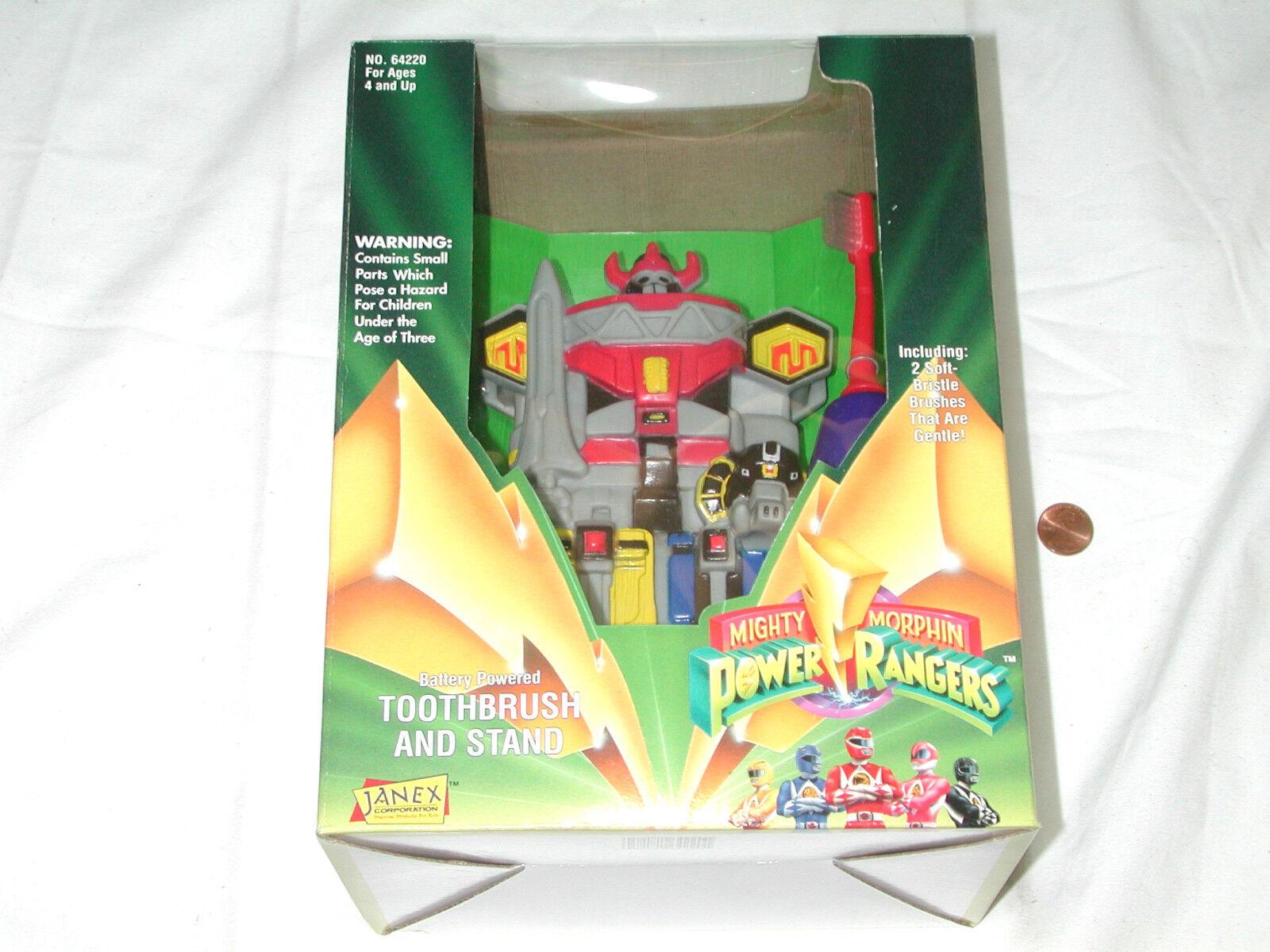 NEW Mighty Morphin Power Rangers Battery Powerosso Toothbrush & Stand 1994 Rare