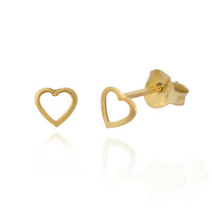 Image Is Loading Sterling Silver 925 Tiny Heart Outline Stud Earrings
