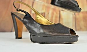 Vera-Wang-Women-039-s-Open-Toe-Strap-Heels-Size-40-Italy-Leather-9-5-US-Party-Black