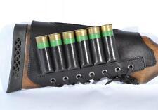 Leather Shotgun Shell Cartridge Buttstock Holder Cheek Rest Padded 20 GA 6 Loops