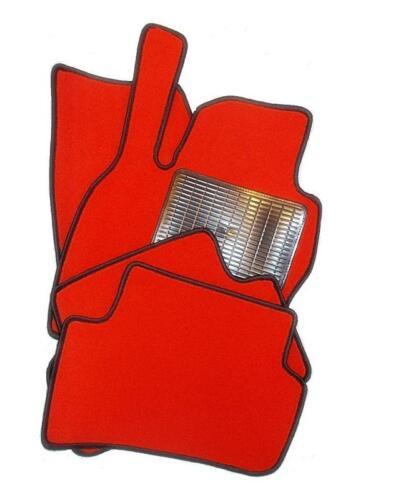 Rosso Con Nero Velluto Tappetini Tappeti auto SUZUKI JIMNY III a partire dal 1998
