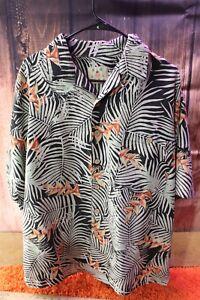 Joe-Marlin-Black-Green-Orange-Palm-Tropical-XXL-NO-SIZE-Men-039-s-Shirt