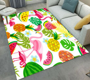 Floor Rug Mat Leaves Watermelon Pineapple Flamingo Bedroom