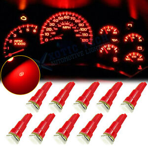10x T5 Red LED Bulb 1-SMD Interior Gauge Cluster Instrument Dashboard Light