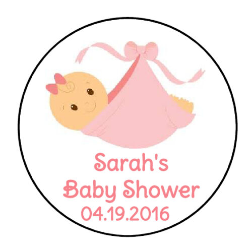 """24 PERSONALIZED PINK GIRL BABY SHOWER FAVOR LABELS ROUND STICKERS 1.67/"""" *"""