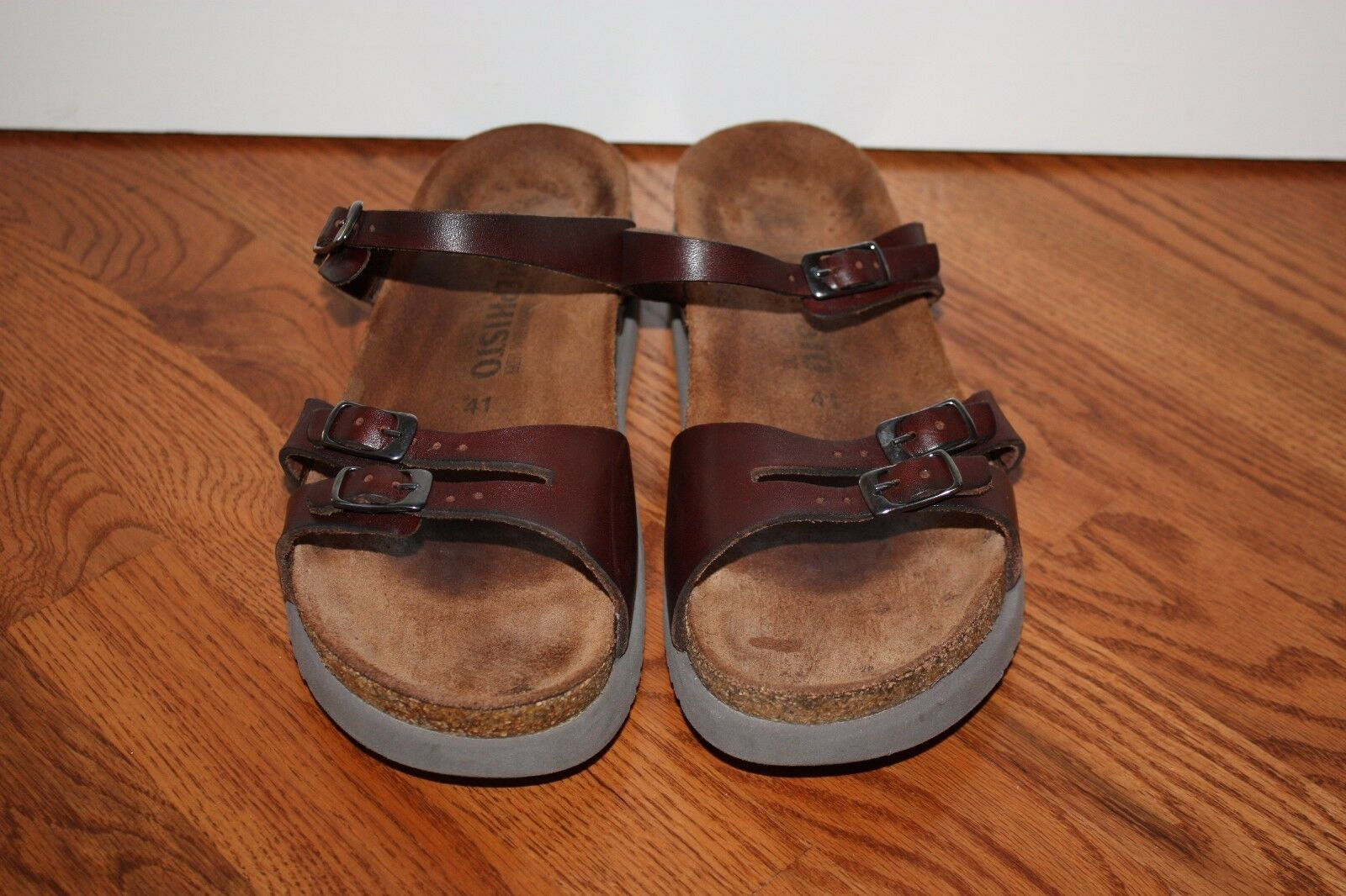 Womens Mephisto Brown Brown Brown Leather Slides Sandals Size 41 2071db