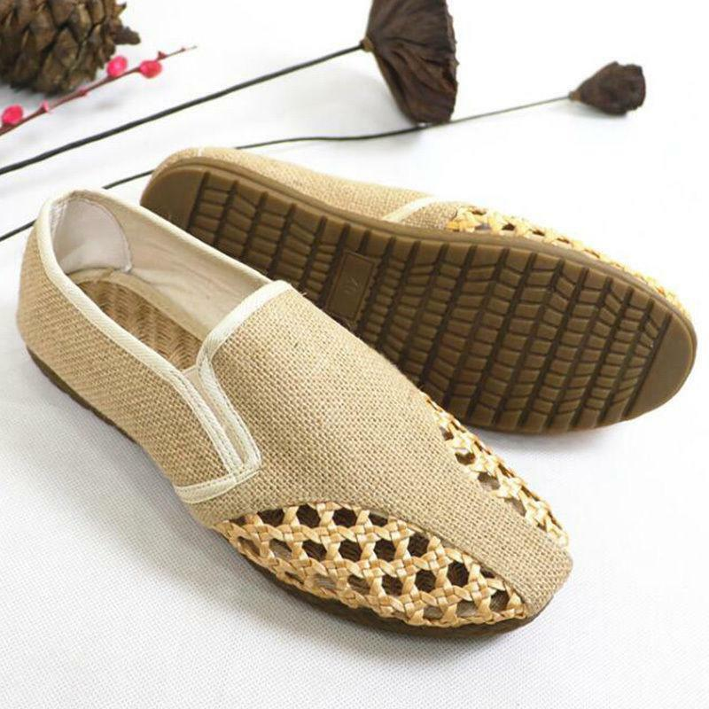 Mens Canvas Hollow Out Boat Mesh shoes Driving Weave Slip On Loafers Espadrille