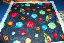 Space baby blanket with satin binding