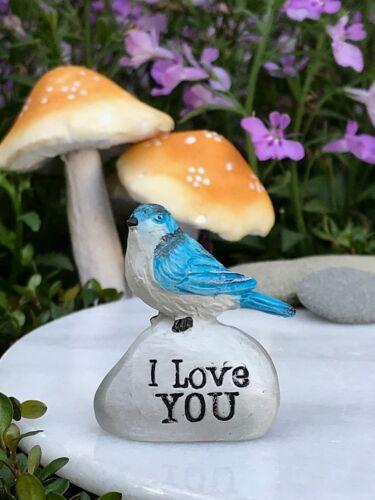 Miniature FAIRY GARDEN Terrarium Accessories ~ Mini I LOVE YOU Blue Bird Stone