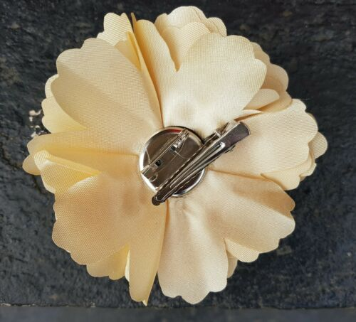 """Girls Women 3.4/"""" Silk Rose Flower Hair Clip Brooch,corsage  LIGHT CARAMEL GOLD"""