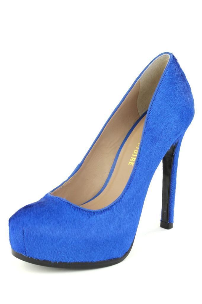 negozio online Pour La Victoire Donna   295 Ivette Electric blu blu blu  Platform Pump High Heels Fur  alta qualità generale