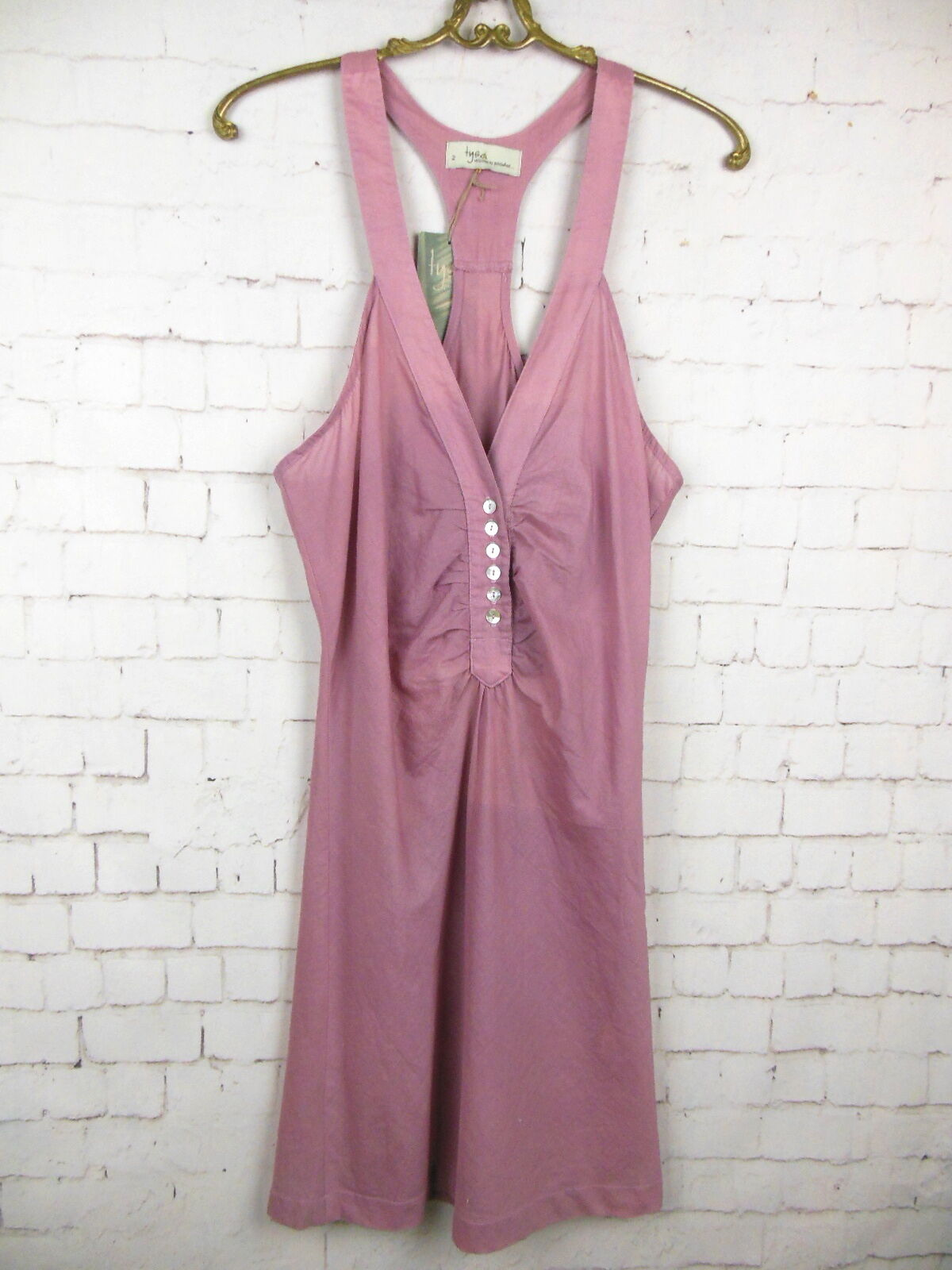 ..NWT TYSA 100% COTTON mauve Thin Low V Neck Racer Back Dress Sz 2 BXR