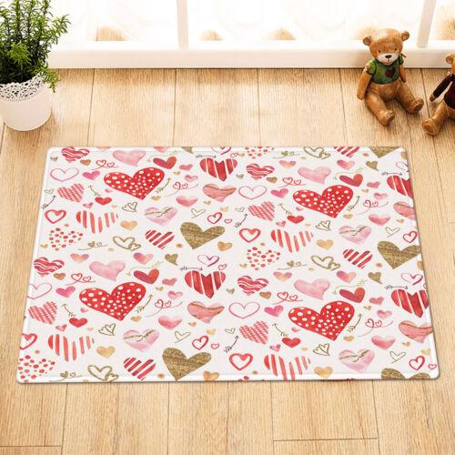 Valentine/'s Day Watercolor Love Hearts Design Shower Curtain Set Bathroom Decor