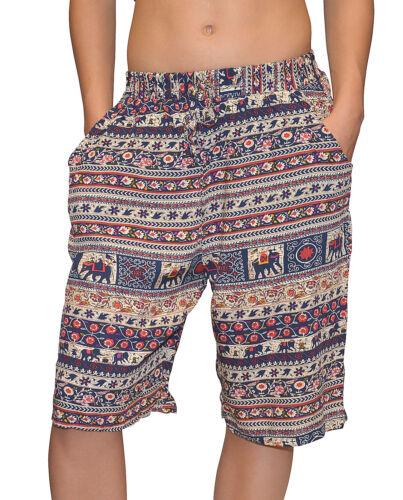 Donna Bermuda Estate leggeri pantaloni corti ELEFANTE-Nero o Blu-S fino XL