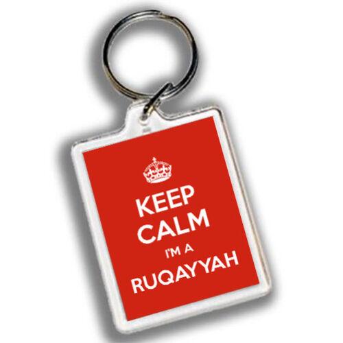KEEP CALM I/'M A RUQAYYAH Keyring 45mm x 35mmRed Carry on design