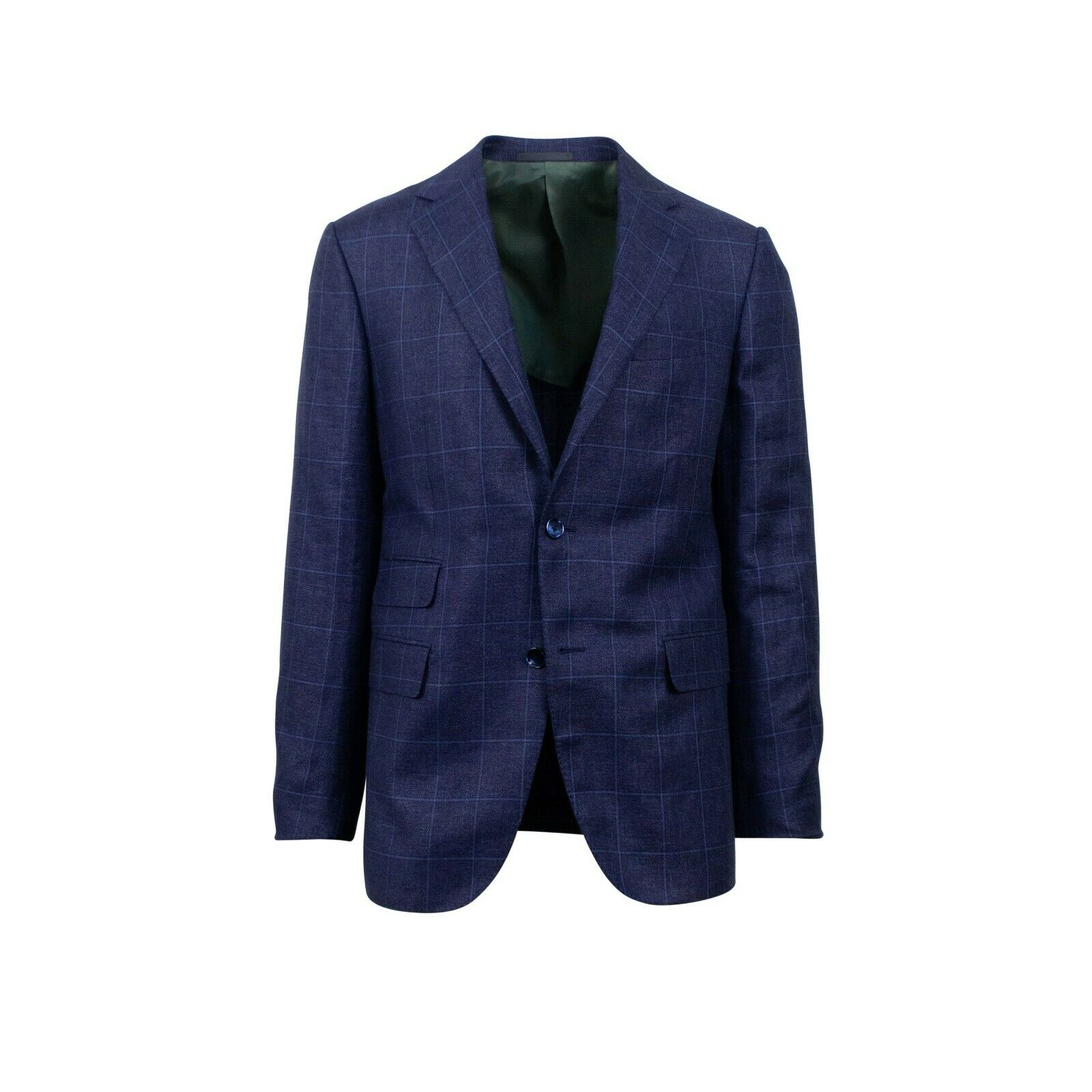 NWT CARUSO Navy bluee Plaid 3 Roll 2 Button Wool Blend Sport Coat 50 40 R Drop 7