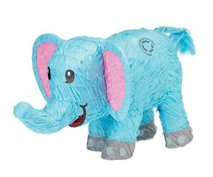 Image Is Loading Blue Elephant Baby Shower Animal Party Pinata Game