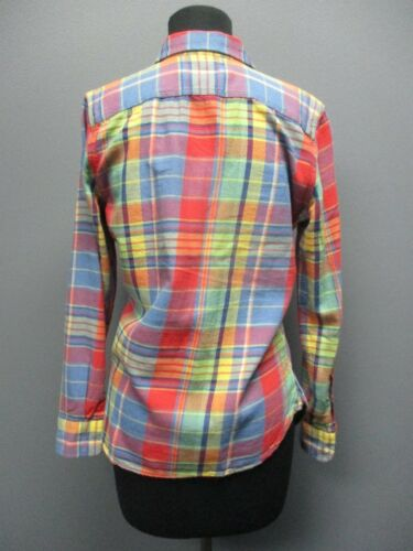Jeans Cotton Ee5046 Plaid Sz Button Blue Lauren Long S Sleeves Blouse Front dSxpqwwP