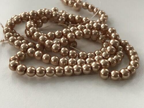 135 Stück Glaswachsperlen 6 mm gold beige Perlen basteln Schmuck Perlen 26