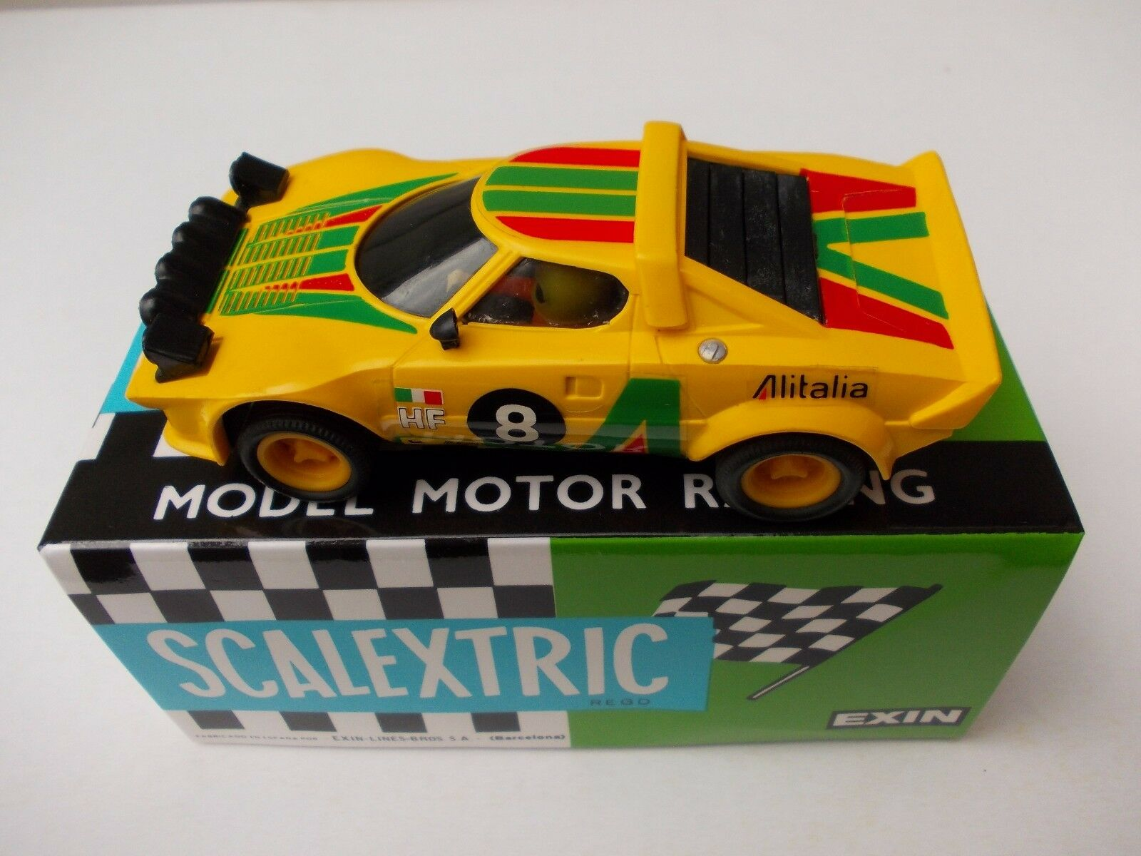 VINTAGE  SCALEXTRIC EXIN 4055 LANCIA STRATOS YELLOW IN PERFECT CONDITION