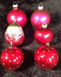 Details About Lot Of 6 Vintage Glass Christmas Tree Ornaments Balls