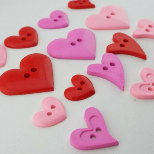 Plastic Heart Button Shirt Craft Decoration BUY 2 4 8 Red Cerise Baby Pink
