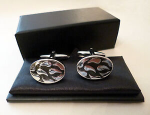 Cufflinks-Oval-Black-amp-Silver-Tone-Mens-Gents-Boxed-NEW