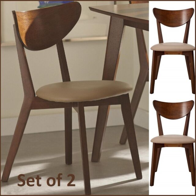 Excellent Set Of 2 Dining Mid Century Wood Chairs Retro Modern Off White Upholstered Chair Pabps2019 Chair Design Images Pabps2019Com