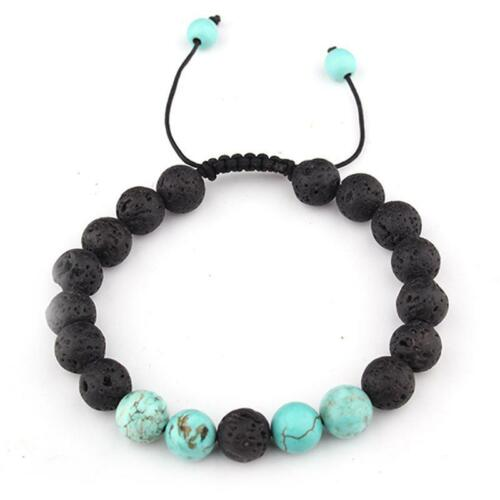 Essential Oil Diffuser Bracelet for Men Lava Rock Stone Tiger Eye Beaded LC