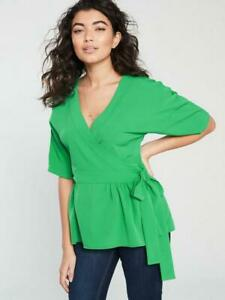 V-BY-VERY-WOMENS-LADIES-HOLIDAY-WRAP-BLOUSE-GREEN-BOW-UK-SIZE-16-RRP-32