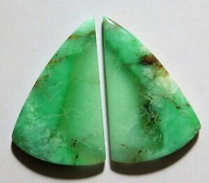 38mm X 21mm Each 40.85 Cts Natural Bio Chrysoprase Drilled Cabochon Match Pair