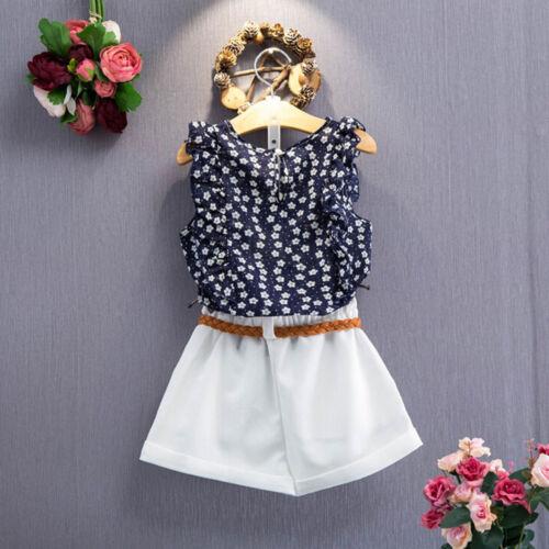 2PCs Toddler Kids Baby Girls Summer Clothes Outfits shirt Tops+Pants//Skirts Sets