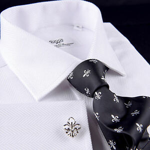 63720b077effe24 Men's White Twill Herringbone Formal Business Dress Shirt Luxury ...