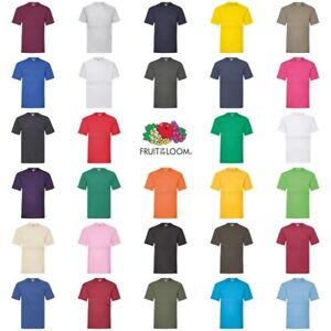 Fruit-of-the-Loom-Mens-Womens-100-Cotton-Plain-Blank-Tee-T-Shirt