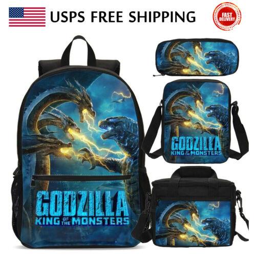USA Godzilla Kids Schoolbag Set Boys Backpack Insulated Lunch Bag Pen Bag LOT