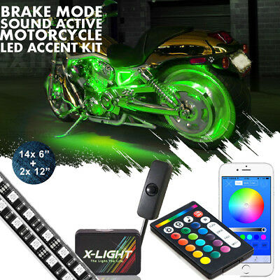 14x Motorcycle LED Light KitRGB Accent Glow Neon Strips w//Switch for Cruisers