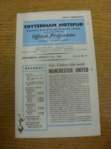 21-03-1964-Tottenham-Hotspur-v-Manchester-United-Creased-Small-Hole-To-Corner
