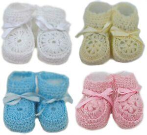 Crochet Baby Booties Ribbon Newborn Pink White Blue Unisex Size 0-3 Months...