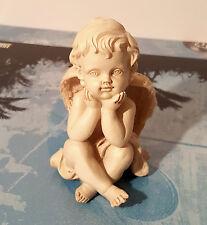 Angel Figurine Cherub Statue Thinking Baby Indoor Outdoor Garden Decor Resin