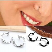 2PCS Fake Stud Earrings Goth Punk Clip On Piercing Body Nose Lip Rings Hoop Gift