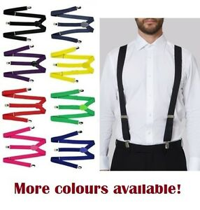 MENS-SUSPENDERS-BRACES-ELASTIC-STRONG-ADJUSTABLE-FORMAL-WEDDING-MEN-039-S-85-CMS